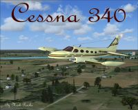 Cessna 340 in flight.
