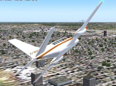 Cessna 404 Titan in flight.