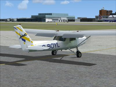 Cessna C-152 G-BOYL on runway.