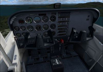 View of the Cessna C172 cockpit.