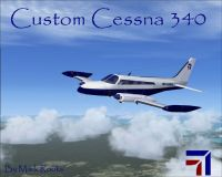 Custom Cessna 340 in flight.