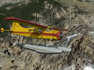 DeHavilland DHC-2 Beaver C-FARF flying over mountains.