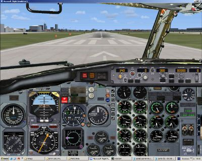 View from the cockpit of Dominican Airways Boeing 757-200 on the runway.