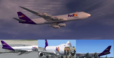 Multiple images of FedEx Express Boeing 747-8F.