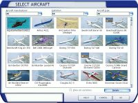 FSX aircraft selection menu