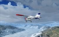 Weather in FSX showing clouds and snow.