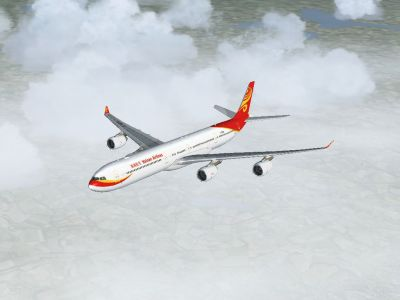 Hainan Airlines Airbus A340-600 in flight.