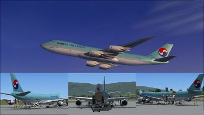 Multiple images of Korean Air Cargo Boeing 747-8F.