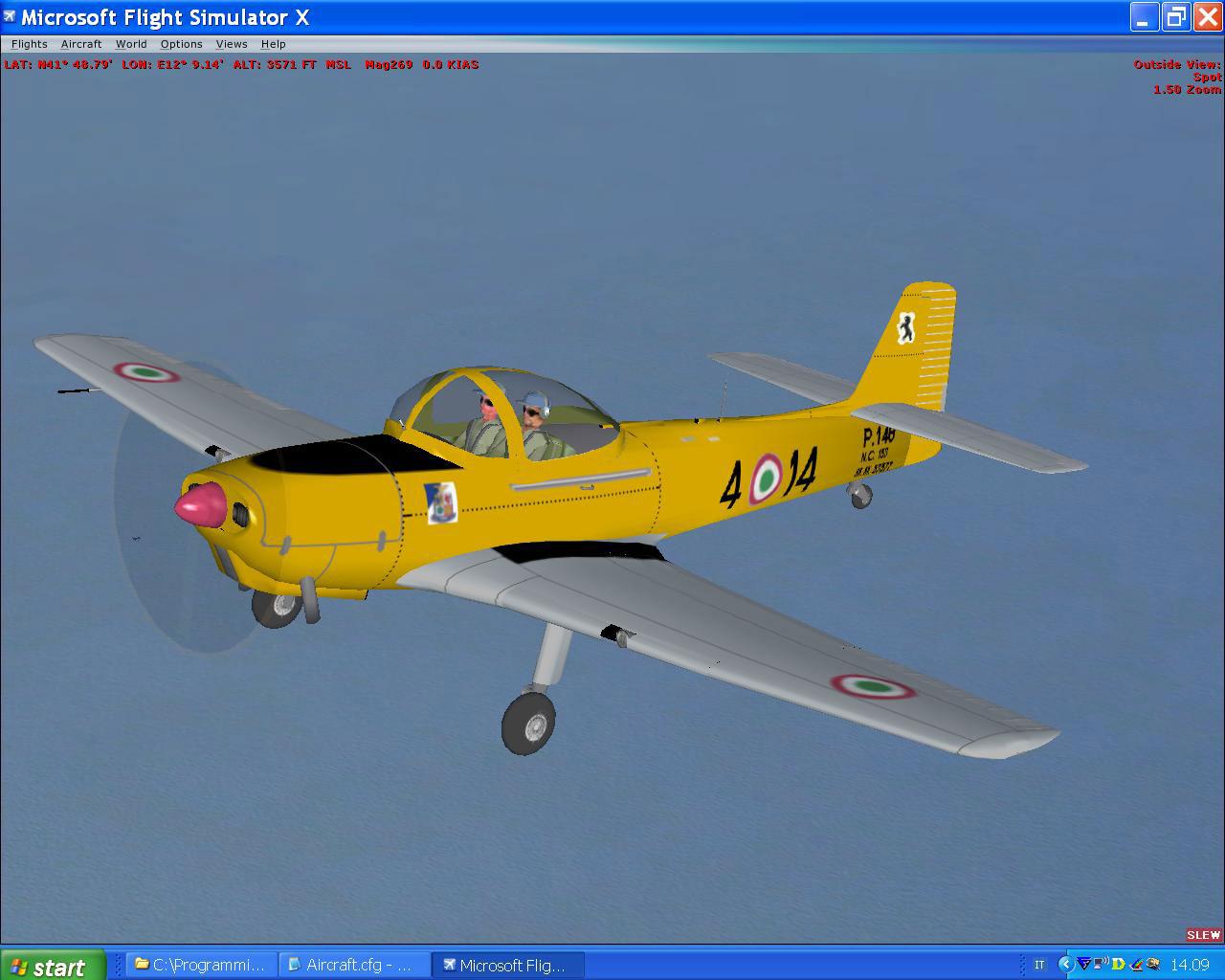 Yellow piaggio p 148 in flight