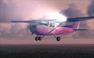 Pink/White/Crimson Cessna C172 in flight.