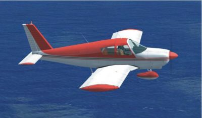 Red and white Piper PA180 in flight.