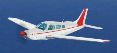 Red Piper Arrow III in flight.