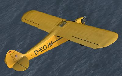 Piper Cub J-3 D-EOJM flying over water.