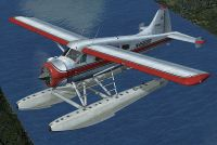 Red And Black DHC-2 Beaver in flight.