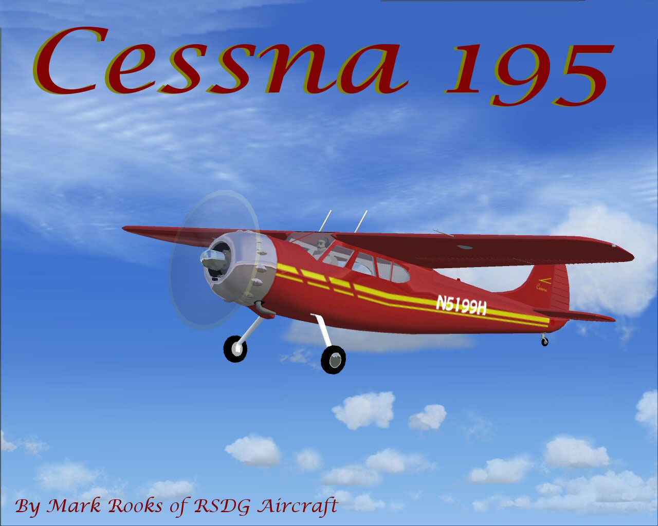 Red Bird Cessna 195 in flight.