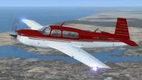 Red Mooney Bravo in flight.