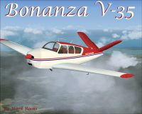 Red White And Blue Bonanza V35 in flight.