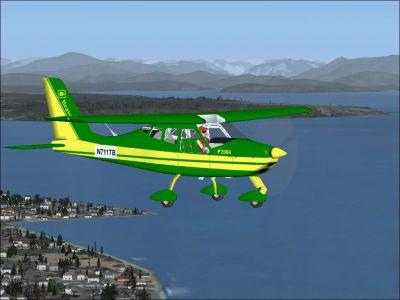 Ultralight Tecnam P2004 Bravo in flight.