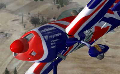 Close up of decals on Union Jack Extra 300S.
