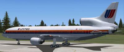 United Airlines Lockheed L-1011 on runway.