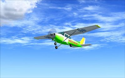 White/Green/Yellos Cessna C172 in flight.