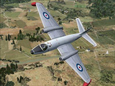 EE Canberra WK116 in flight.