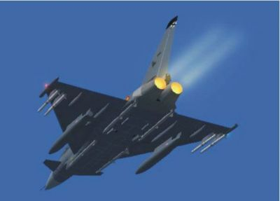 EF2000 Typhoon in flight with afterburners.