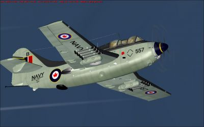 RCN Fairey Gannet AS. Mk1 VS-880 in flight.