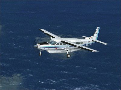 SAAF Cessna 208B Grand Caravan in flight.