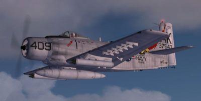 Douglas A-1H Skyraider in flight.
