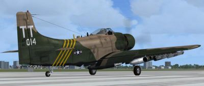 Douglas A-1J Skyraider on runway.