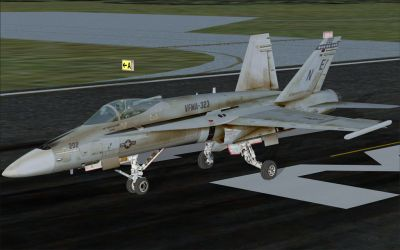 US Marines F/A-18C on runway.