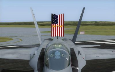Speed brake of US Marines F/A-18C Silver Eagles CAG.