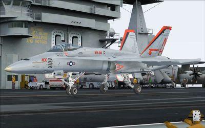 US Navy F/A-18C Mighty Shrikes on runway.