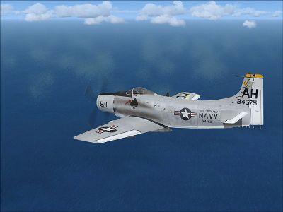 US Navy Douglas A-1 Skyrider VA-152 in flight.