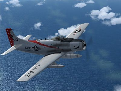 US Navy Douglas A-1 Skyrider VA-65 in flight.