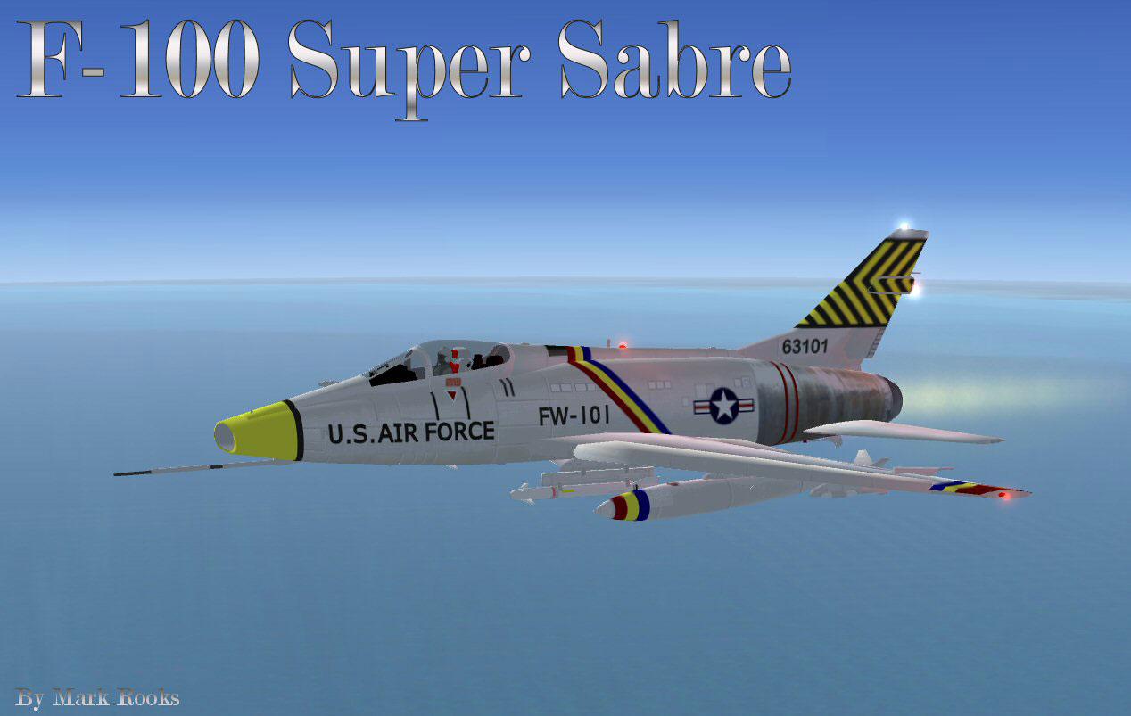 USAF F-100 Super Sabre 474 TFW in flight.