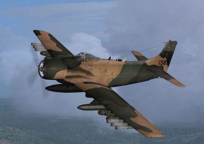USAF Douglas A-1H Skyraider 34-569 in flight.
