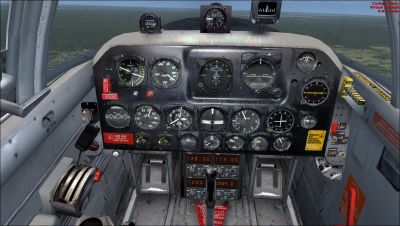 Virtual cockpit of USMC Beechcraft T-34B Quantico.