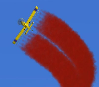 Air Tractor 802A with red smoke.