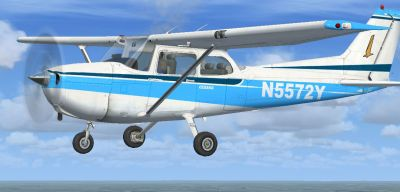 Blue And White Cessna 172SP in flight.