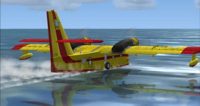 Canadair CL215 landing on water.