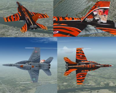 Four screenshots of Canadian Air Force/RCAF CF-18 in flight.
