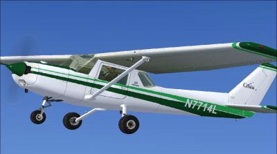 Cessna 150 in flight.