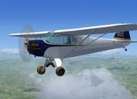 Continental Cargo Piper Cub in flight.