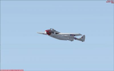 DeHavilland DH-100 Vampire in flight.