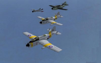 Fairey Gannet Fleet in flight.