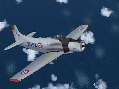 French Air Force Douglas A-1H in flight.