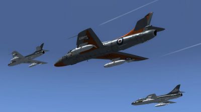 "Three Hawker Hunter 738 NAS ""Rough Diamonds"" in flight."