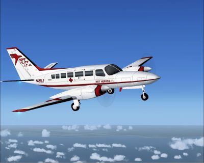 Hope Flite I.C.U. Cessna 404 Titan in flight.